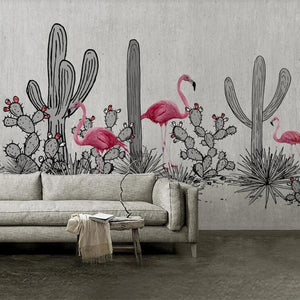 custom-mural-wallpaper-papier-peint-papel-de-parede-wall-decor-ideas-for-bedroom-living-room-dining-room-wallcovering-Hand-Painted-Nordic-Flamingo-Cactus-pink