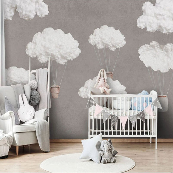 custom-mural-wallpaper-papier-peint-papel-de-parede-wall-decor-ideas-for-wallcovering-Modern-Hand-painted-Children-s-Room-Wallpaper-3D-Sky-Creative-Clouds
