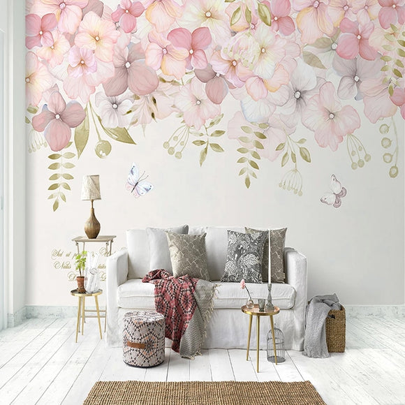 custom-mural-wallpaper-papier-peint-papel-de-parede-wall-decor-ideas-for-bedroom-dining-room-wallcovering-Hand-Painted-Flowers-Wall-Painting-Living-Room-Kids-Bedroom-romantic-pink-flowers