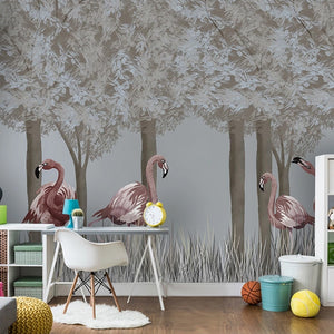 custom-mural-wallpaper-3d-living-room-bedroom-home-decor-wall-painting-papel-de-parede-papier-peint-forest-flamingo