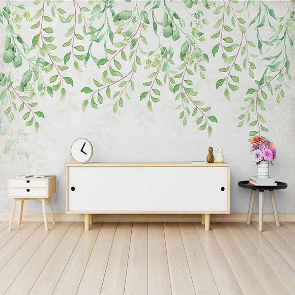 custom-mural-wallpaper-papier-peint-papel-de-parede-wall-decor-ideas-for-bedroom-living-room-dining-room-wallcovering-Hand-Painted-watercolor-pastoral-Green-Leaves