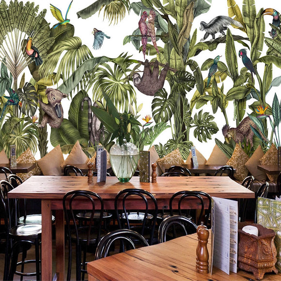 custom-mural-hand-painted-rainforest-parrot-banana-tree-animal-modern-art-wall-painting-wallpapers-for-living-room-restaurant-3d-papier-peint