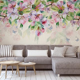 custom-mural-hand-painted-romantic-watercolor-pink-flower-green-leaf-photo-wall-papers-home-decor-living-room-bedroom-wallpaper-floral-papier-peint