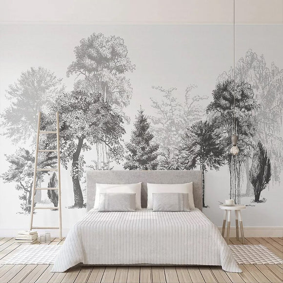 custom-mural-wallpaper-papier-peint-papel-de-parede-wall-decor-ideas-for-bedroom-living-room-dining-room-wallcovering-Modern-Hand-Painted-Black-White-Abstract-Tree-Forest-Art-Wall-Painting