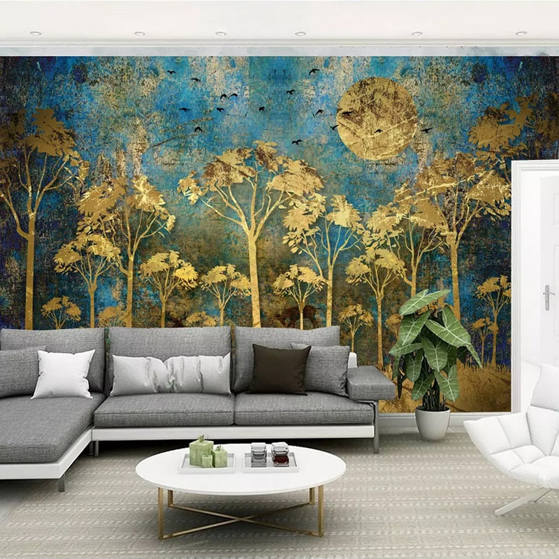 Custom Mural Wallpaper Chinese Style Abstract Golden Trees