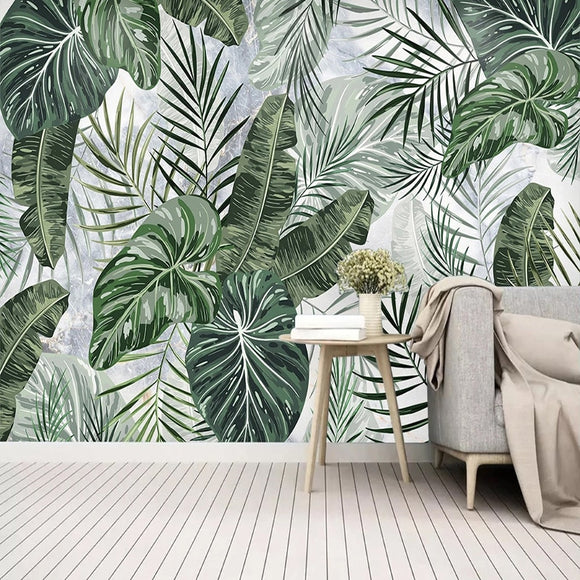 custom-mural-wallpaper-papier-peint-papel-de-parede-wall-decor-ideas-for-bedroom-living-room-dining-room-wallcovering-3D-Hand-Drawn-Tropical-Plants-green-Leaves