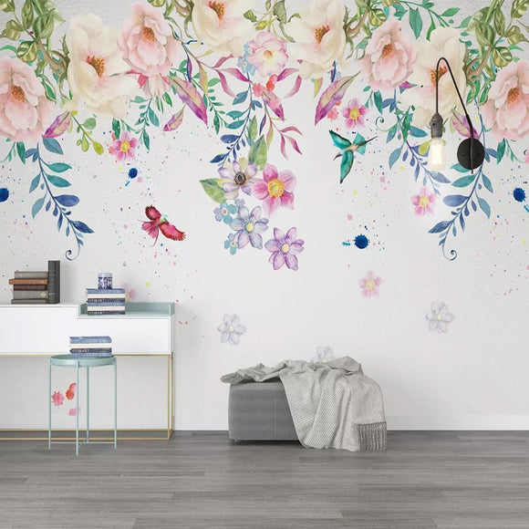 custom-mural-wallpaper-papier-peint-papel-de-parede-wall-decor-ideas-for-bedroom-dining-room-wallcovering-Hand-Painted-Flowers-Wall-Painting-Living-Room-Kids-Bedroom