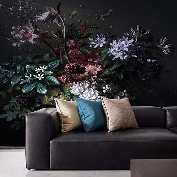 custom-mural-wallpaper-3d-lily-flower-black-background-wall-painting-living-room-bedroom-retro-frescoes-papel-de-parede-sala-3-d