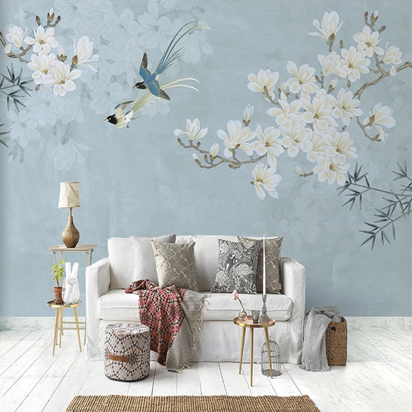 custom-mural-wallpaper-papier-peint-papel-de-parede-wall-decor-ideas-for-wallcovering-Self-Adhesive-Chinese-Style-Magnolia-Flower-And-Bird