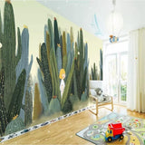 custom-wallpaper-mural-wall-covering-wall-decor-wall-decal-wall-sticker-nursery-decor-kids-room-children's-room-daycare-kindergarten-ideas-cartoon-cactus-girl-papier-peint
