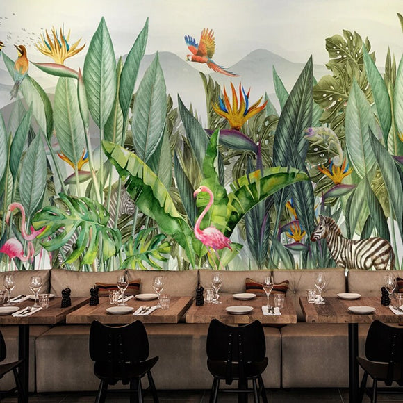 custom-mural-wallpaper-hand-painted-tropical-rain-forest-southeast-asia-plant-leaf-flowers-and-birds-fresco-restaurant-wallpaper-papier-peint