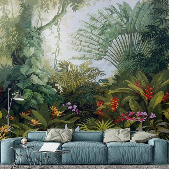 custom-mural-wallpaper-hand-painted-tropical-rainforest-plant-landscape-painting-wall-papers-home-decor-living-room-papier-peint