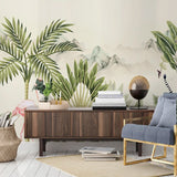 custom-mural-wallpaper-papier-peint-papel-de-parede-wall-decor-ideas-for-bedroom-living-room-dining-room-wallcovering-Flamingo-Hand-Painted-Tropical-Rainforest-Plant-Landscape