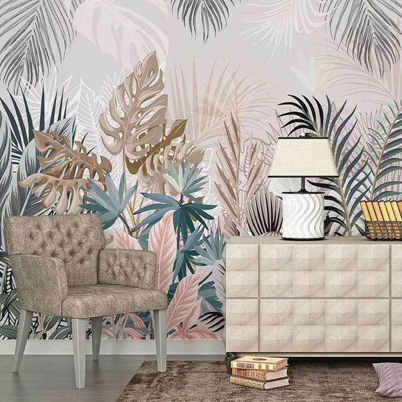 custom-mural-wallpaper-papier-peint-papel-de-parede-wall-decor-ideas-for-bedroom-living-room-dining-room-wallcovering-3D-Hand-Drawn-Tropical-Plants-Rainforest-Leaves
