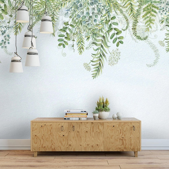 custom-mural-wallpaper-papier-peint-papel-de-parede-wall-decor-ideas-for-bedroom-living-room-dining-room-wallcovering-Nordic-Style-3D-Green-Plants-Leaves