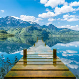 custom-mural-wallpaper-room-blue-sky-white-clouds-wooden-bridge-lake-water-nature-landscape-3d-creative-space-art-wall-painting
