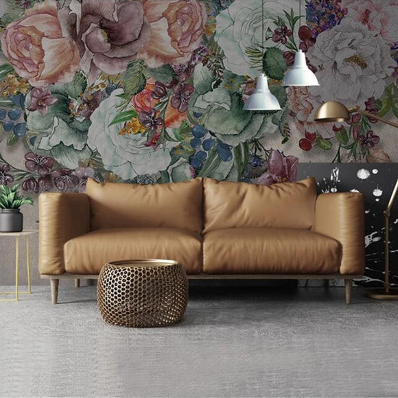custom-mural-wallpaper-papier-peint-papel-de-parede-wall-decor-ideas-for-bedroom-living-room-dining-room-wallcovering-European-Modern-Retro-Nostalgic-Hand-Painted-Floral-Flowers