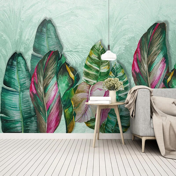 custom-photo-hand-painted-green-leaf-watercolor-mural-modern-pastoral-living-room-bedroom-bedside-backdrop-wall-painting-canvas-papier-peint
