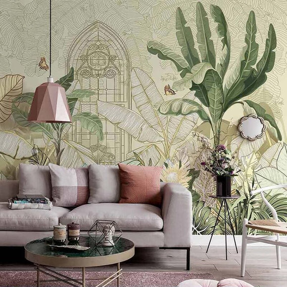 custom-mural-wallpaper-papier-peint-papel-de-parede-wall-decor-ideas-for-bedroom-living-room-dining-room-wallcovering-tropical-Plant-Banana-Leaf-vintage