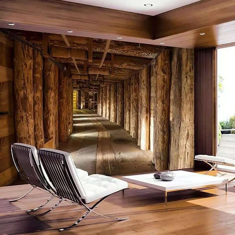 Custom Size Mural Wallpaper 3D Wood Tree Extended Space ...