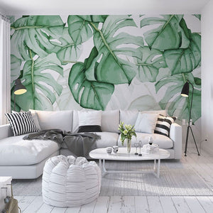 custom-photo-wallpaper-3d-hand-painted-canvas-oil-painting-tropical-plants-green-leaf-living-room-bedroom-home-decor-wall-mural