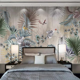 custom-mural-wallpaper-papier-peint-papel-de-parede-wall-decor-ideas-for-bedroom-living-room-dining-room-wallcovering-retro-Nordic-Plant-Leaves-Flowers-Birds