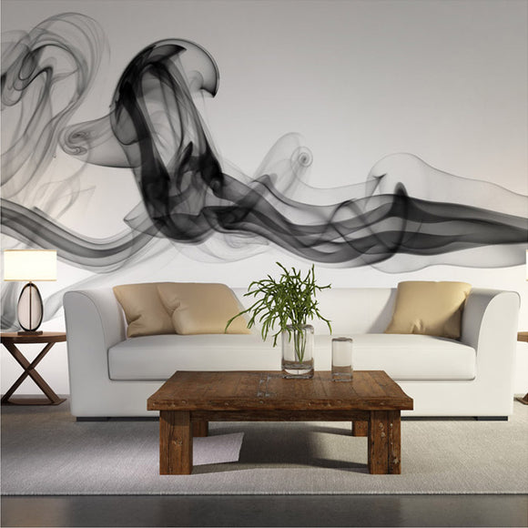 custom-wall-mural-wallcovering-Creative-Wallpaper-black-white-smoke-fog