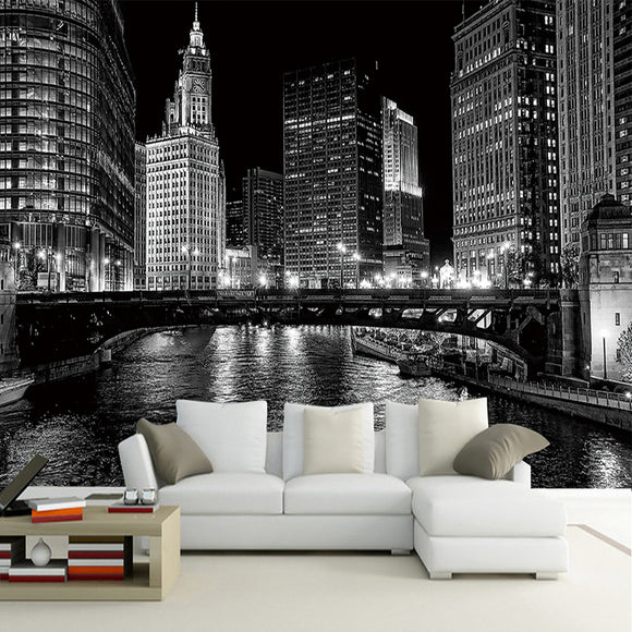 custom-wall-mural-wallcovering-city-buildings-wallpaper-night-view-black-white