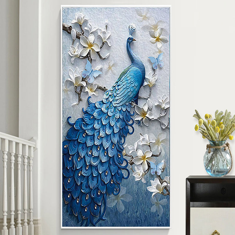 Custom 3D Wallpaper Peacock Flower Hallway Entrance Murals