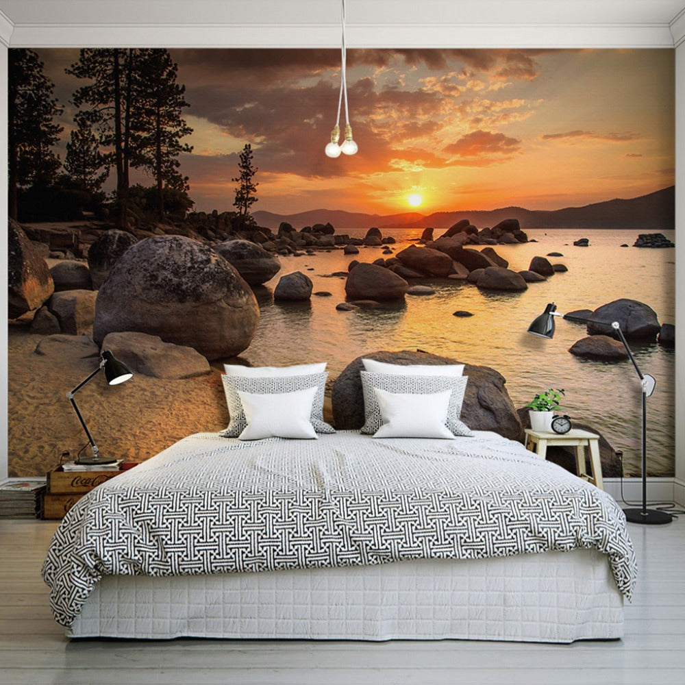 Custom Photo Wallpaper Murals 3D Sunset Beach Scenery ...