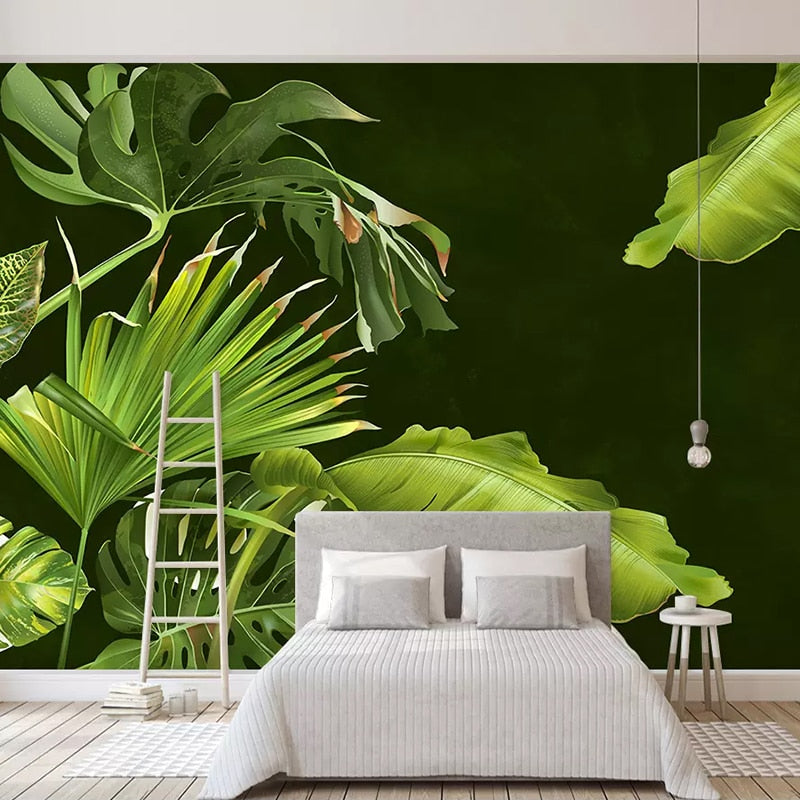 Custom Nordic Style Mural Wallpaper Banana Leaves