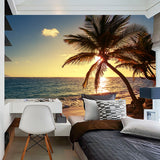 custom-sunrise-sunset-seaside-beach-coconut-trees-nature-landscape-3d-photo-wallpaper-mural-wall-painting-living-room-bedroom-papier-peint