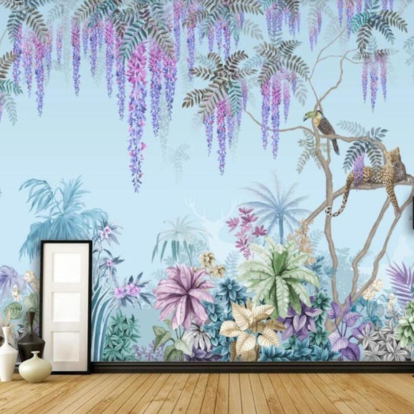 custom-mural-wallpaper-papier-peint-papel-de-parede-wall-decor-ideas-for-bedroom-living-room-dining-room-wallcovering-hand-painted-Western-painting-tropical-jungle-wisteria-animal-background-decorative-painting