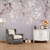 custom-mural-wallpaper-papier-peint-papel-de-parede-wall-decor-ideas-for-bedroom-living-room-dining-room-wallcovering-vintage-flower-leaves-watercolor-style-Nordic-minimalist-3d-retro-home-interior-purple
