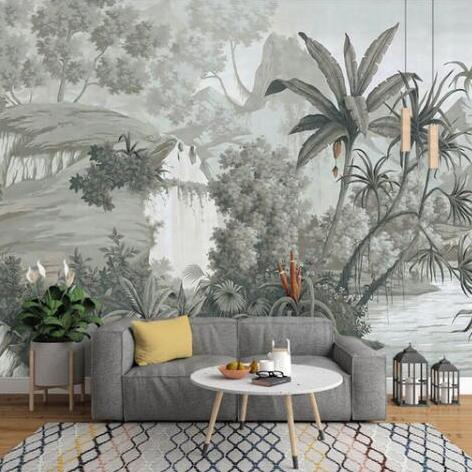 custom-wallpaper-european-retro-nostalgic-hand-painted-rainforest-banana-palm-sofa-tv-mural-background-3d-wallpaper
