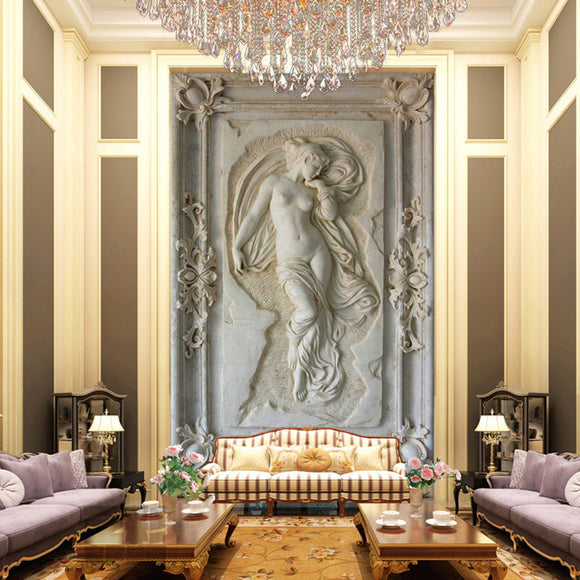 entrance-mural-hallway-corridor-nude-angel-statue-wallpaper-wallcovering-3d-custom