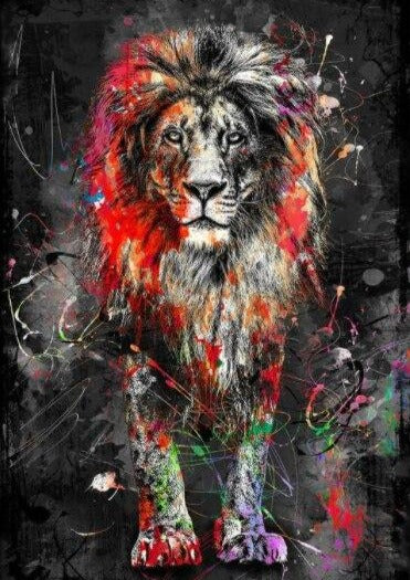 Custom Wallpaper Mural Abstract Colorful Lion Painting Bvm Home