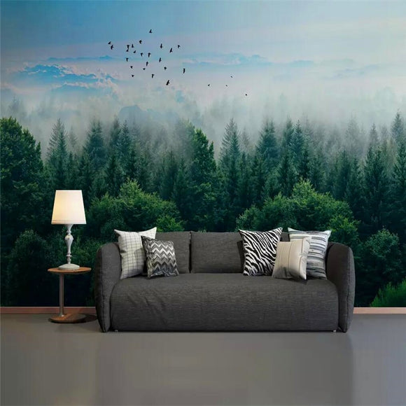 decorative-wallpaper-nordic-minimalist-style-mist-forest-remote-mountain-birds-background-wall-mural-modern-wallcovering