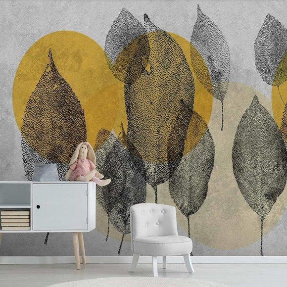 custom-size-wall-mural-3d-wallcovering-decorative-wallpaper-black-and-white-trees-forest-scene-background-wall-painting-hand-painted-leaves-wallcovering