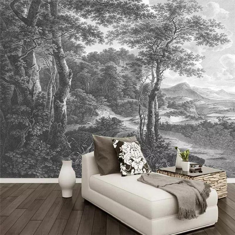 Custom Wallpaper Mural Black And White Forest