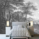 custom-size-wall-mural-3d-wallcovering-decorative-wallpaper-black-and-white-trees-forest-scene-background-wall-painting-hand-painted-black-and-white-wood-forest
