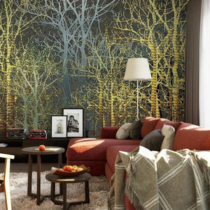 custom-size-wall-mural-3d-wallcovering-decorative-wallpaper-black-and-white-trees-forest-scene-background-wall-painting-hand-painted-industrial-style-forest