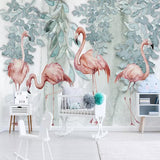 custom-size-wall-mural-decorative-wallpaper-original-northern-europe-simple-small-fresh-leaf-flamingo-rural-brick-wall-background-wall