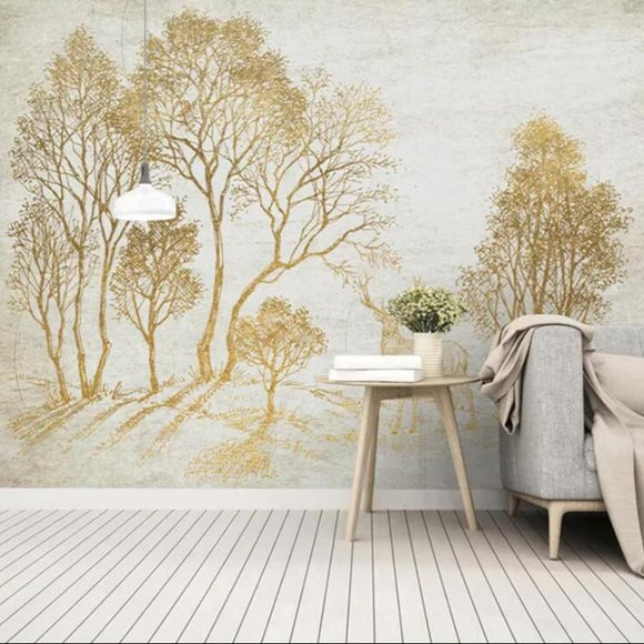custom-mural-wallpaper-3d-living-room-bedroom-home-decor-wall-painting-papel-de-parede-papier-peint-small-fresh-style-woods-elk-golden-idyllic