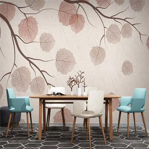 Custom Vintage Style Wallpaper Mural Tree Branches Leaves Bvm Home