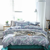 Egyptian Cotton Floral Bedding Sets Pastoral Print Duvet Cover Set