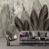 custom-size-wall-mural-european-hand-painted-style-abstract-leaf-bird-nostalgic-background-wall-painting