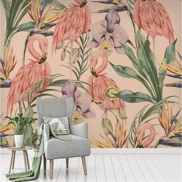 flamingo-flower-bird-plant-tropical-rainforest-background-wall-papier-peint-wallpaper-mural-custom-photo-wall
