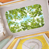 forest-themed-ceiling-fresco-blue-sky-white-clouds-green-tree-leaves-3d-photo-wallpaper-bedroom-room-ceiling-wallpaper-murals