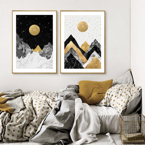 golden-yellow-moon-poster-stars-picture-cuadros-posters-and-prints-wall-art-canvas-painting-nordic-poster-wall-decor-unframed